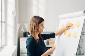 Photo Art Print Young Woman Sticking Sticky Notes To Flip