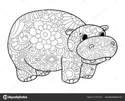 Nijlpaard Kleurplaten Vector Voor Volwassenen Dier Stockvector For