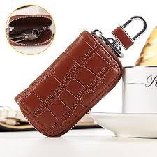 genuine leather key holder zipped key pouch keychain auto car key case bag dark coffee cod