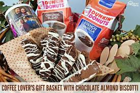 coffee lover s gift basket with chocolate almond biscotti