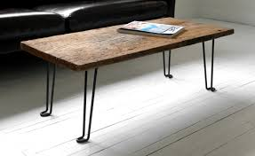 DIY Coffee Table Of A Wood Plank And Hairpin Metal Legs