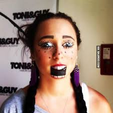 lady funny makeup face