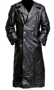 german pea coat black men s classic officer military hide leather trench coat