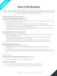 Restaurant Cook Resume Line Cook Resume Sample Emelcotest Com