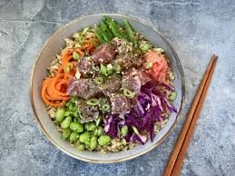 brown rice in a bowl. Wonderful Bowl Brown Rice Tuna Poke Bowl With Furikake To In A B