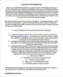 Examples Of Branding Statements For A Resume Sample Personal Brand Statement 9 Examples In Word Pdf