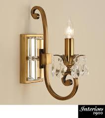 interiors 1900 oksana 1 light wall light antique brass crystal ul1w1b
