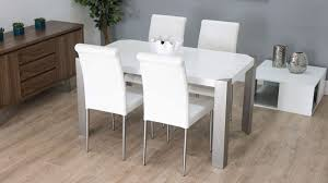 modern white dining room chairs. Modern Dining Table And Real Leather Chairs White Room C