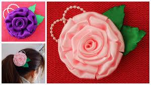 Diy satin ribbon rose,satin flower tutorial,how to make ribbon flower, easy  satin rose - YouTube