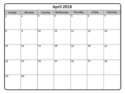 april 2018 word calendar april 2018 calendar free templates word excel printable