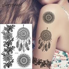1pc Hot Fashion Large Mehndi Henna Women Body Art Glitter Tattoo Kit Bj013a Feather Black Style Temporary Tattoo Stencils