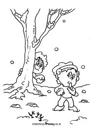 Kleurplaat Sneeuwballen Gooien Vakantie