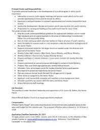 Program Coordinator Job Description Template Mmbc Youth Minister