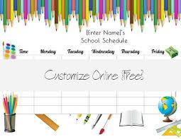 school schedule template free school schedule maker customize online print at home