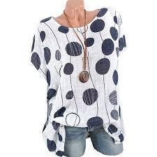 Womens Plus Size Short Sleeve Loose Polka Dot T Shirt