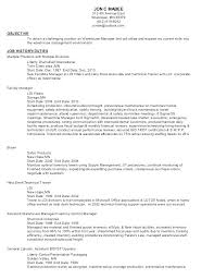 Resume Templates For Warehouse Worker Job Manager Sample