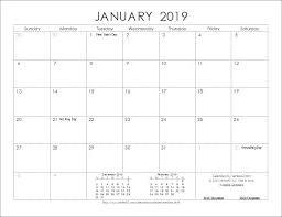 New 2019 Calendar Printable Microsoft Word Calendar 2019