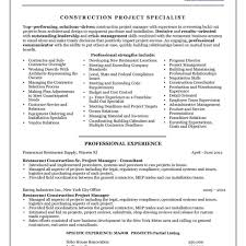 Construction Project Manager Resume Examples Photo Construction