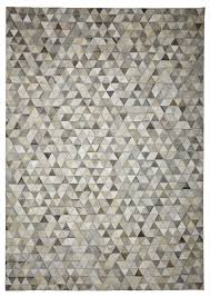 triangles ivory grey cowhide rug