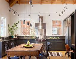 office track lighting. Industrial Kitchen Design With Perimeter Track Lighting And Rustic Wood Plank Ceiling. Office U