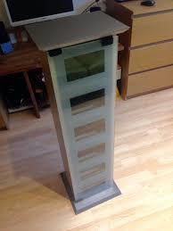 manhattan glass door cd dvd blu ray media storage shelves