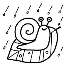 でんでん虫梅雨夏の季節6月の行事無料白黒イラスト素材 梅雨の