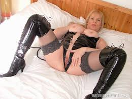 Mature Shaved Blonde MILF Alex UK with Big Tits Wearing Black.