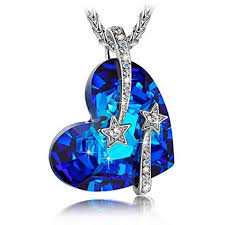 sapphire pendants necklace for women venus blue heart swarovski crystal jewerly