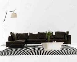 striped sofas living room furniture. Contemporary Minimal Black Leather Sofa With Striped Rug Stock Photo - 25965324 Sofas Living Room Furniture S