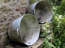 vintage tin baths buckets churns