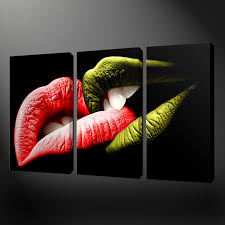 lips abstract three canvas wall art pictures prints free uk