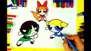 Learn Colors By Coloring Powerpuff Girls L Drawing And Coloring