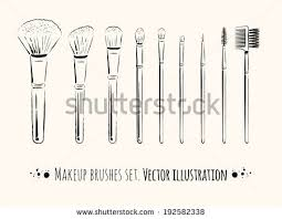 makeup brushes kit hand drawn vector set isolated