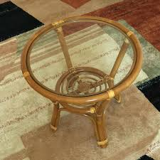 brown rattan coffee table round wicker glass top awe inspiring on pertaining to round rattan coffee