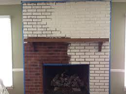 white painted brick fireplace process