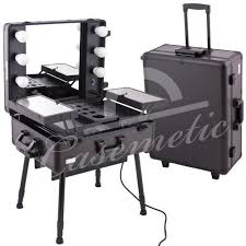 black pro studio aluminum professional makeup artist rolling wheeled organizer trolley cosmetic train case table w lights