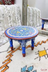 moroccan round table zouak small hand painted wood blue limited edition zt19