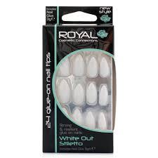 Royal Umělé Nehty Bílé S Jemnou Perletí Nalepovací S Lepidlem White Out Stiletto 24 Glue On False Nails Tips 24ks S Lepidlem 3g