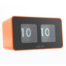 nextime flipped clock orange retro flip desk and wall clock