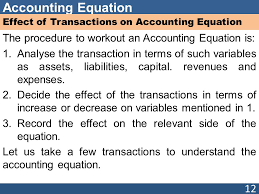 12 accounting equation effect of transactions on accounting equation the