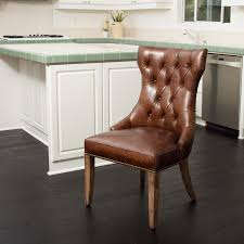 rustic leather brown leather parsons chair parson chairs with arms