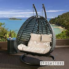 picture of architect double seat rattan hanging egg chair