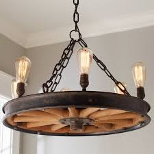 Antique Wooden Wheel Chandelier brown_and_black