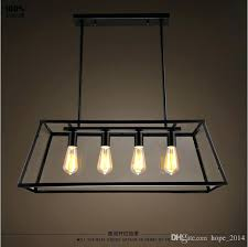 iron rectangular chandelier loft pendant lamp retro industrial black iron glass rectangular chandelier light living room