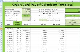 credit card payoff calculator excel credit card payoff calculator template xls xlstemplates