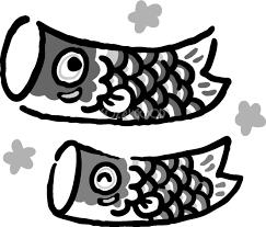 2匹の鯉のぼり白黒シルエット白黒の無料イラストこどもの日43081