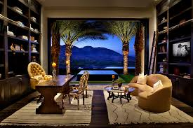 outside home office. Family Room Office Home Mediterranean With Built-in Bookcases Open To Outside Palm Trees S