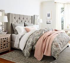 tufted upholstered beds. Amazing Tufted Upholstered Headboard With Harper Tall Bed  Pottery Barn Tufted Upholstered Beds