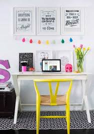 yellow office decor. Download Home Office Decorating Ideas With Quotes Wall Decor And Flower Jar Yellow Chair D