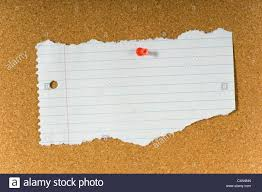 Cork Bulletin Board Blank Torn Notebook Paper On Cork Bulletin Board Stock Photo